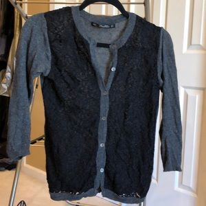 Zara Sweaters - Black lace and grey cardigan